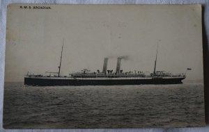R.M.S. Arcadian, printed postcard stamped Southampton 1917