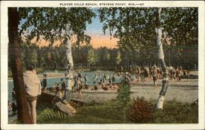 Stevens Point WI Plover Hills Beach Swimming Linen Postcard