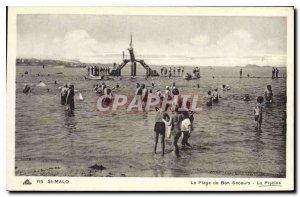 Old Postcard Saint Malo La Plage de Bon Secours Pool