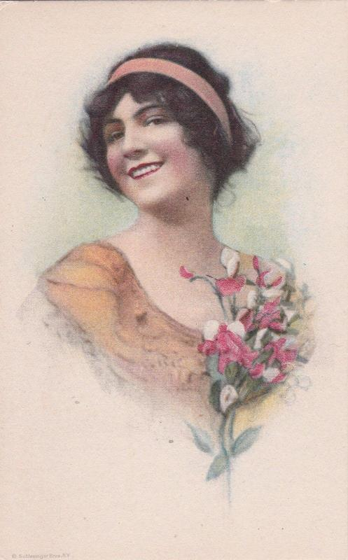 Portrait woman & flowers, Schlesinger Bros., 00-10s