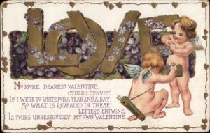 Valentine - Cupids Decorating Large Letters w/ Flowers c1910 Postcard