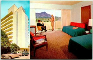 Vintage Honolulu, Hawaii Postcard SEA SHORE HOTEL AT WAIKIKI / Room View 1960s