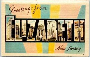 1940s ELIZABETH New Jersey Large Letter Postcard DEXTER Linen #26203 - Unused