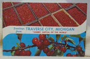 Cherry Capital Traverse City Michigan Vintage Postcard