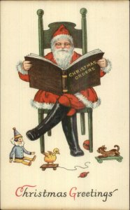 Christmas - Santa Claus Reading 'Orders' Book c1910 Postcard