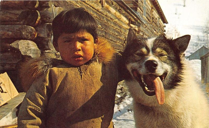 Alaska~Eskimo Boy with Dog from Dogsled Team~Husky?~1950s Postcard
