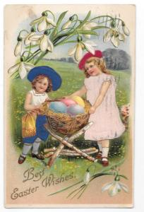 Easter Children Silk Dresses & Hats Girls Vintage Postcard