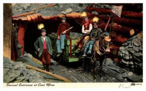 20366    Coal Miners  at tunnel entrance, donkey pulled cart
