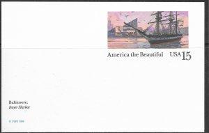 US Unused. America the Beautiful. UX136. Baltimore - Inner Harbor. Nice.