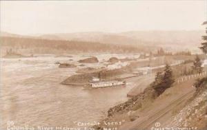 Oklahoma Cascade Locks Columbia River Highway Real Photo RPPC