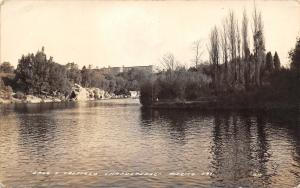Mexico City Mexico~Castillo y lago de Chapultepec~Park~Lake~1940 Real Photo~RPPC