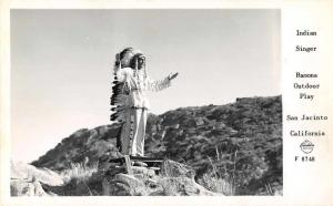 San Jacinto California Indian Singer Frasher Real Photo Antique Postcard J67144