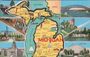 Map Of Michigan With Multi View