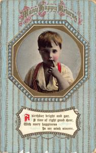 Embossed Vintage 1915 Birthday GREETINGS Postcard Portrait by Philco 2255C #16