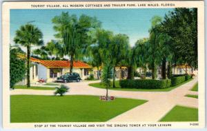 Lake Wales Florida Postcard TOURIST VILLAGE Cottages & Trailer Park Linen 1941