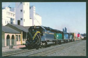 MPI SD45 Motive Power Inc Double Stack Freight Train Cheney WA Railroad Postcard