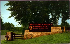 Hodgenville KY - entrance sign on US 31E and KY 61 of ABRAHAM LINCOLN BIRTHPLACE