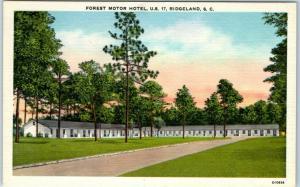 Ridgeland, South Carolina Postcard FOREST MOTOR HOTEL Highway 17 Roadside c1940s