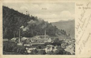 romania, AZUGA, Partial View with Unknown Factory (1900) Stamp