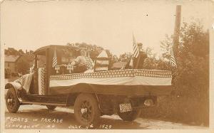 Kennebunk ME July 4, 1929 Parade Truck Float RPPC Postcard