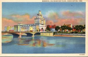 Iowa Cedar Rapids Memorial Coliseum and Plaza 1946 Curteich