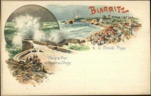Biarritz France Multi View Lighthouse 1890s Lithograph Postcard