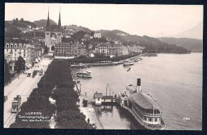 Dock w/Boat & Church Lucerne Switzerland Unused c1920s