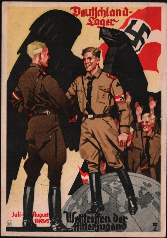 Propaganda postcard. Hitler Jugend Welt meeting 1935. VERY RARE.