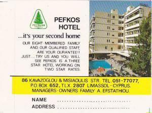 CYPRUS LIMASSOL PEFKOS HOTEL VINTAGE LUGGAGE LABEL