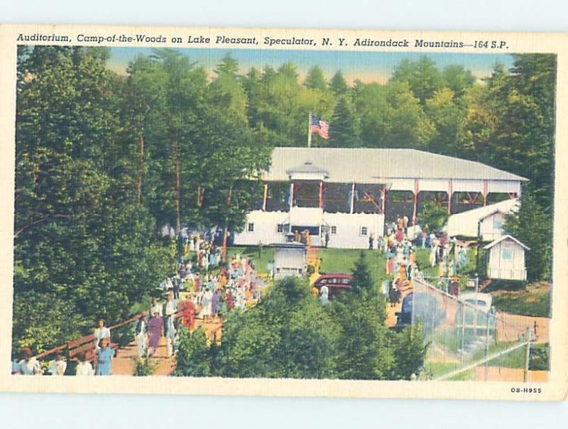 Unused Linen CAMP SCENE Adirondacks - Speculator New York NY c3662