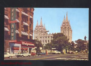 SALT LAKE CITY UTAH 1960's CARS STREET SCENE WALGREENS DRUG STORE OLD POSTCARD