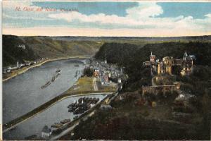 St Goar mit Ruine Rheinfels Castle River Boats Panorama Postcard