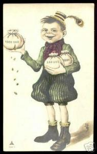 strange SIGNED Caricature pc Boy with Money Bags (1911)