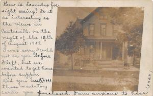 Burr Oak Michigan~View of House~Note from Alma Camburn~1909 RPPC
