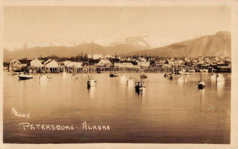 Petersburg Alaska Sail Boats Waterfront Real Photo Antique Postcard K96452