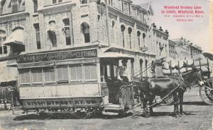 Winfield Kansas~Horse Drawn Trolley c1885~M Hahn Dry Goods Store~1908 B&W Ad PC