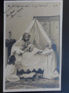(lV) Young Girls Playing with Dolls at Bedtime RP c1903 Postcard by G.H. 110515