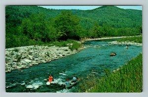 Bethel VT- Vermont, Canoes, White River, Green Mountain State, Chrome Postcard