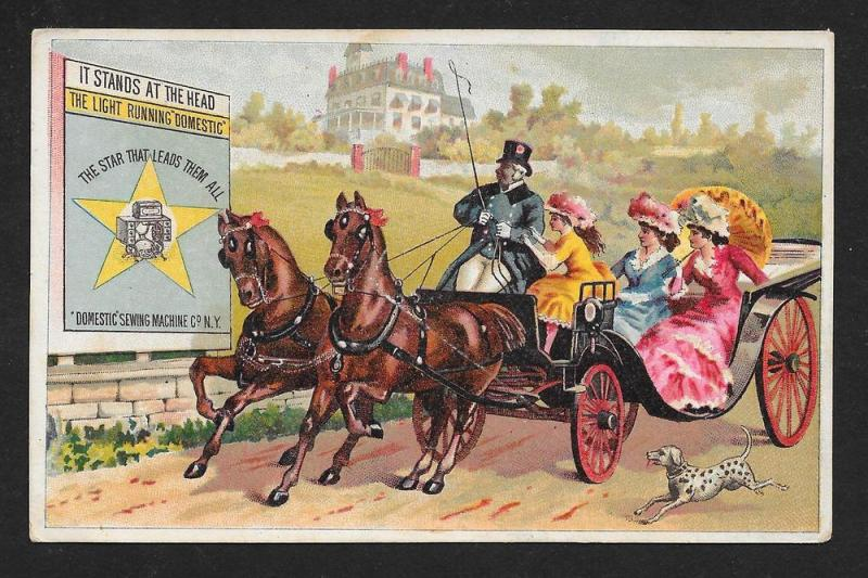 VICTORIAN TRADE CARD Domestic Sewing Machine Black Man Buggy