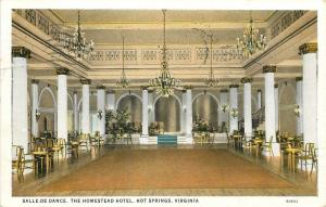 Hot Springs Virginia~Homestead Hotel~Salle-De-Dance Ball Room~1933 Postcard