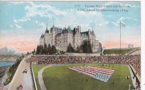 Washington Tacoma High School & Stadium 4000 School Children Forming Flag Cur...