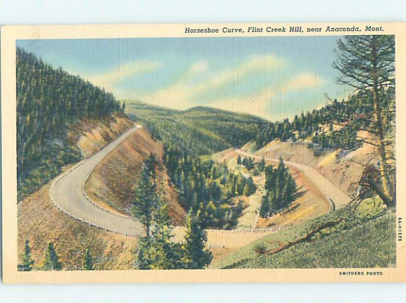 Linen HORSESHOE CURVE Anaconda - Near Butte Montana MT AD4206