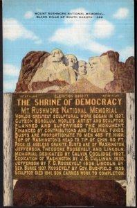 South Dakota BLACK HILLS Mount Rushmore National Memorial Shrine - LINEN