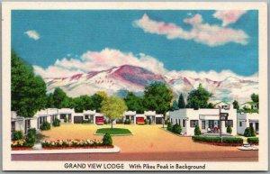 1950s Colorado Springs CO Postcard GRANDE VIEW LODGE Motel MWM Chrome Unused