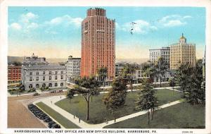 Pa. Harrisburg, Hotel, Post Office and New Office Building, auto cars 1937