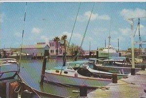 Texas Port Aransas Pleasure And Fishing Boats Tied Up At Post Arasas