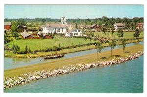 Bird's-eye view showing a Bateau on the Canal & Christ Church,  Morrisburg,  ...