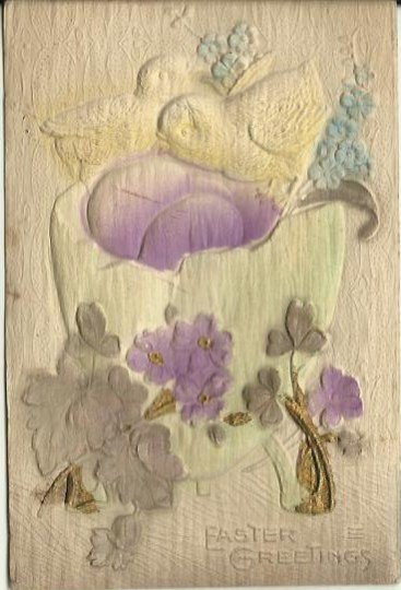 Heavily Embossed Novelty Airbrushed Postcard Chicks Easter Egg Lilacs 1913 Ephemera