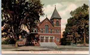 Keene, New Hampshire Postcard St. Bernards Catholic Church Street View c1900s