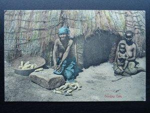 South Africa ZULU GRINDING CORN c1908 Postcard by Sallo Epstein & Co. Durban